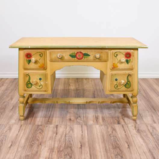 Monterey Style Floral Painted Vanity Desk