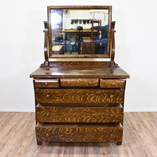 Antique Empire Style Tiger Oak Vanity Dresser Loveseat