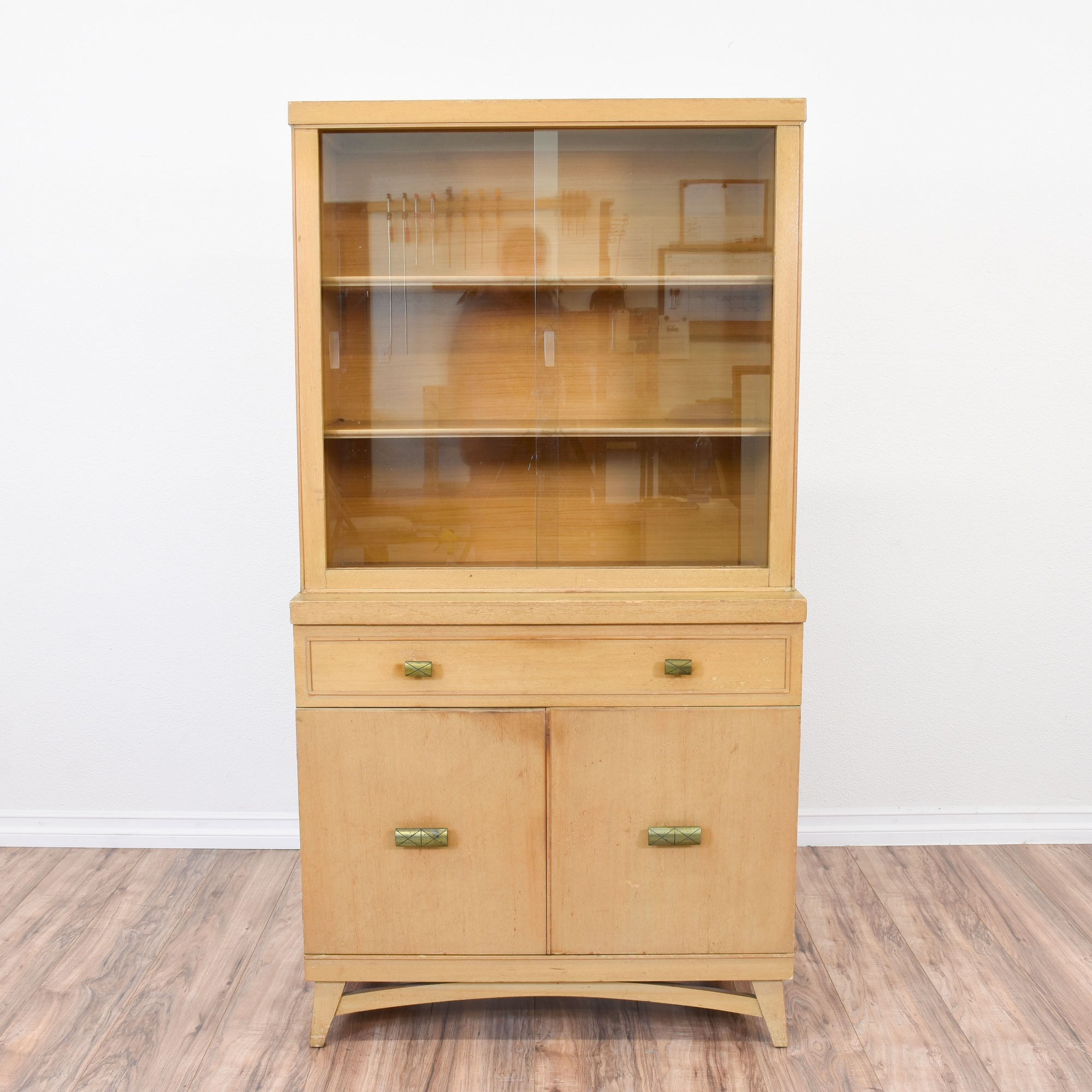 Blonde Wood Mid Century Modern China Hutch