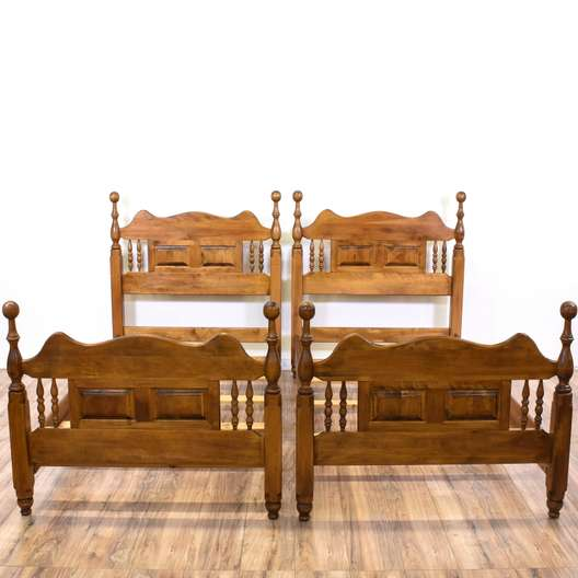 Pair of Twin Carved Country Chic Bedframes