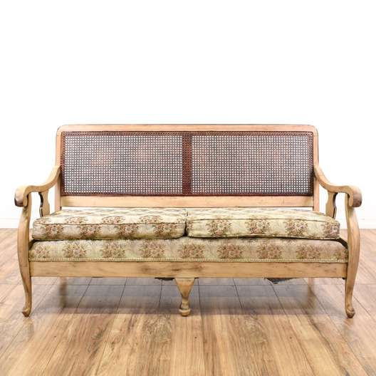 Cane Back Floral Needlepoint Settee Loveseat