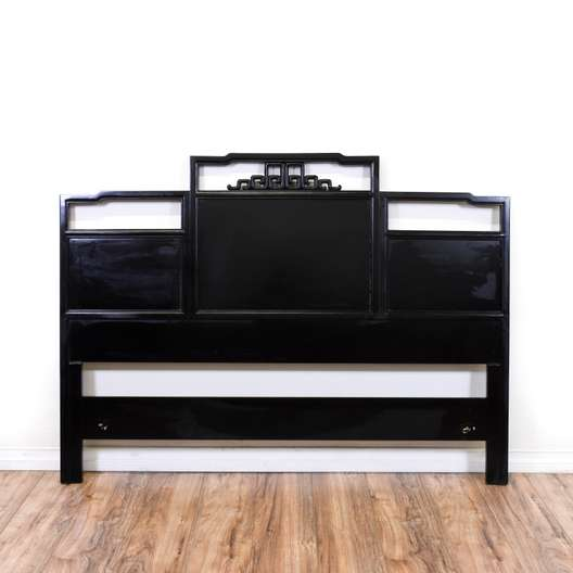 Black Lacquered Asian Style Queen Headboard