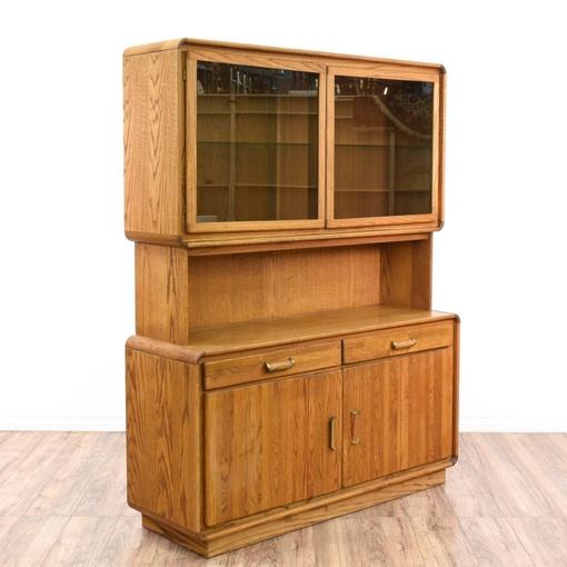 Retro Large Oak Display Cabinet