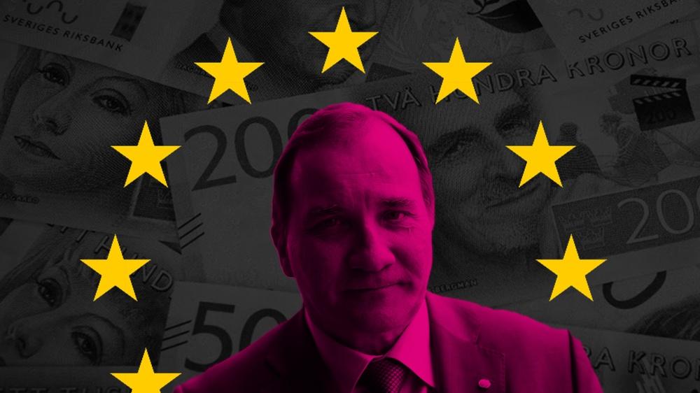 Kollage med Stefan Löfven, EUs stjärnor och svenska sedlar.