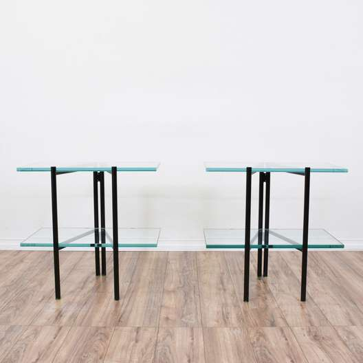 Pair of Modern Glass Top Folding End Tables