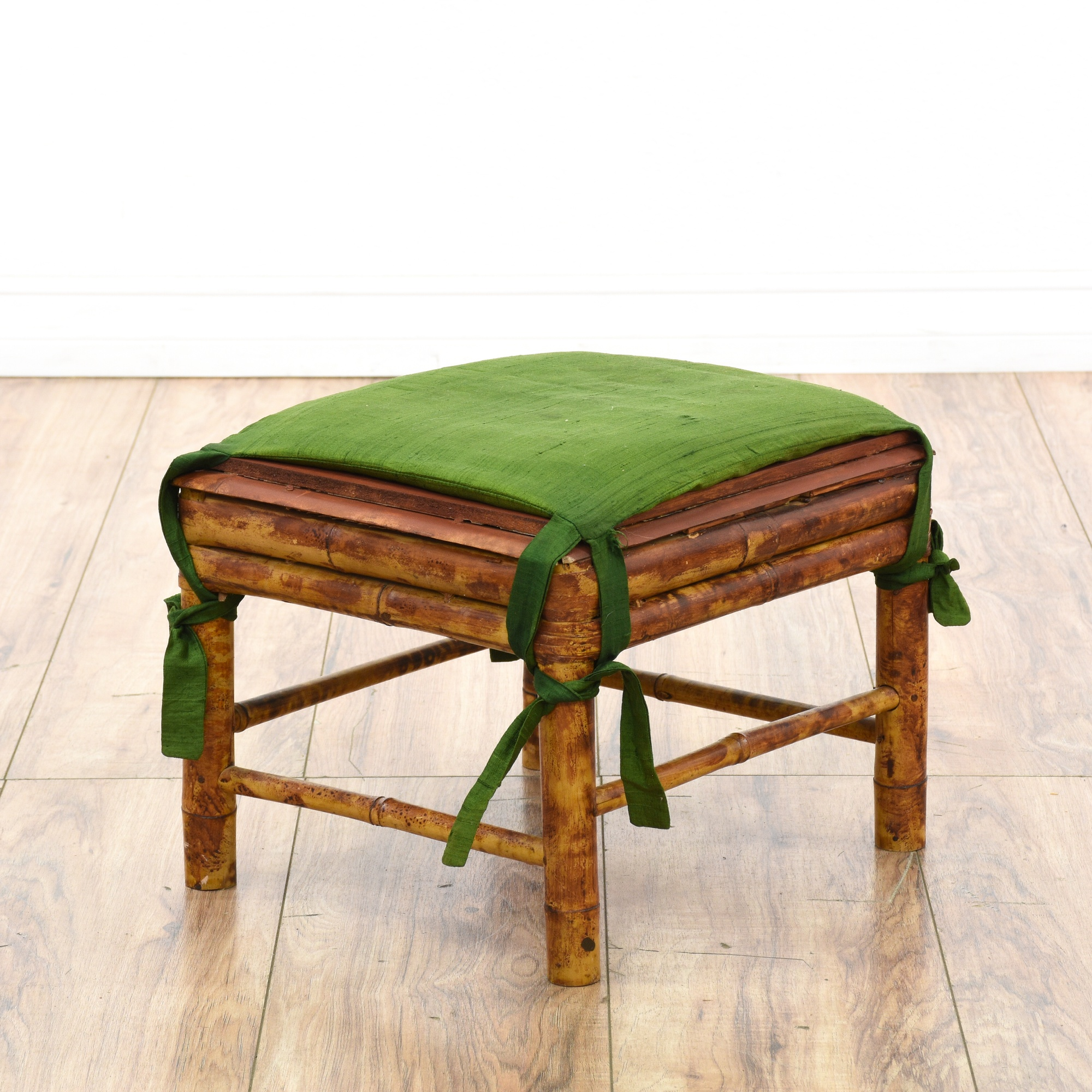 Small Distressed Bamboo Footstool Ottoman Loveseat