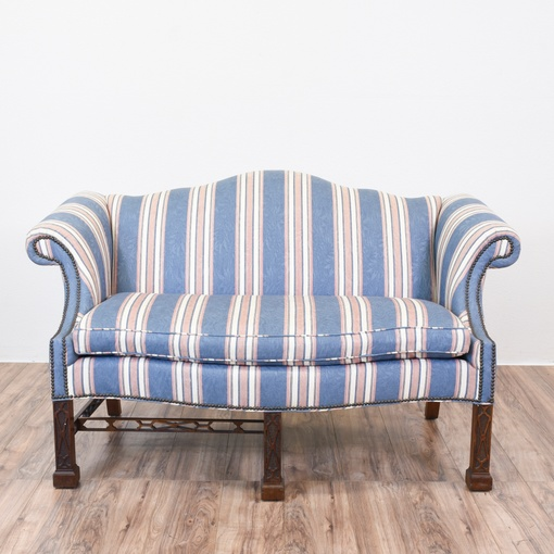 Blue Striped Camelback Chippendale Sofa Loveseat Vintage