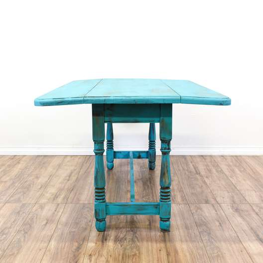 Shabby Chic Blue Carved Drop Leaf Table