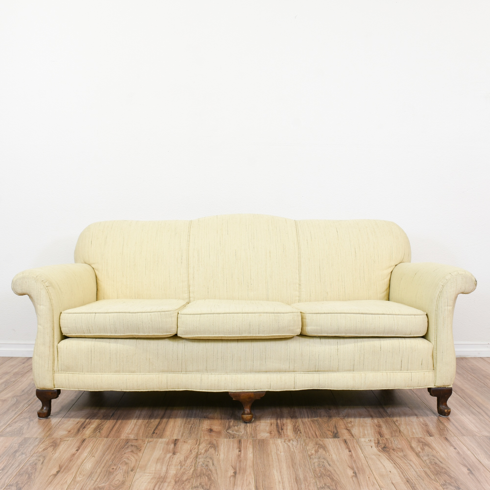 Traditional White Upholstered Sofa