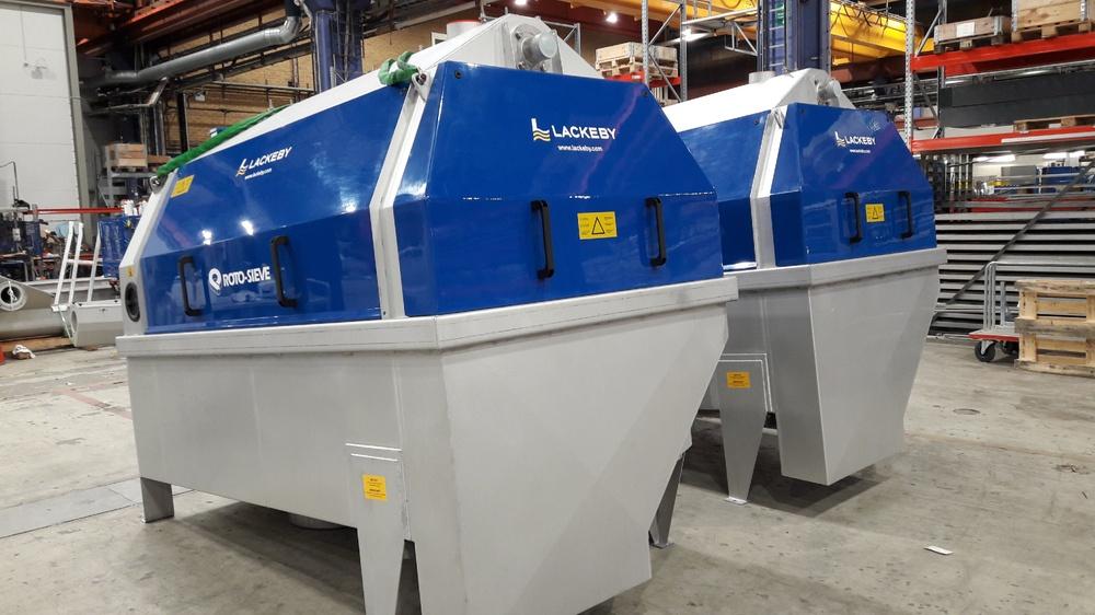 Lackeby Roto-Sieve trumsil som ska installeras för membranskydd på en textilindustri i Bangladesh