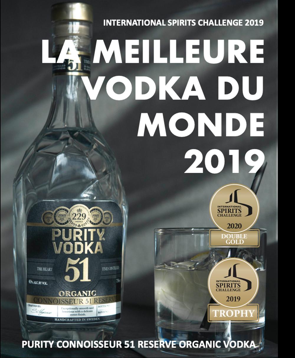 La meilleure vodka du monde - PURITY CONNOISSEUR 51 RESERVE ORGANIC VODKA