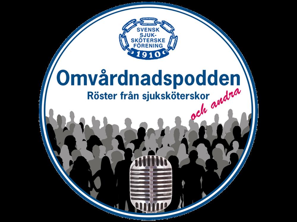 Logotyp för Svensk sjuksköterskeförenings podcast, Omvårdnadspodden