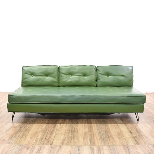 Mid Century Modern Green Vinyl Sofa | Loveseat Vintage Furniture ...