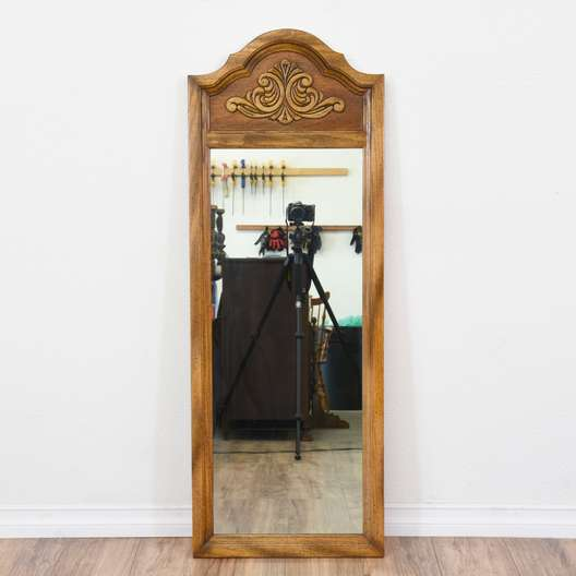 Carved Oak Curved Top Mirror 2