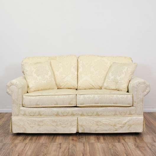 """Krause's"" Cream Floral Damask Loveseat Sofa"