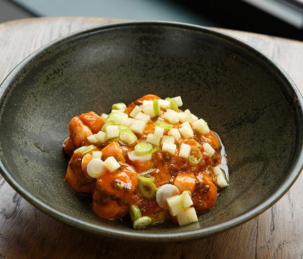 Braised octopus, pork belly, apple, lentils