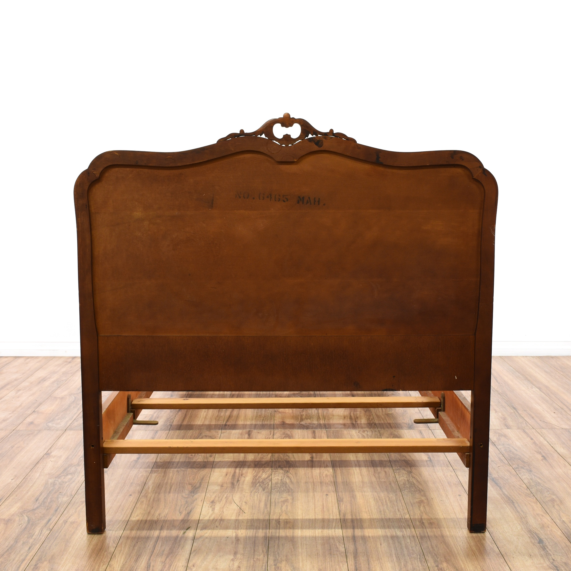 Pair Of Walnut Carved Twin Bed Frames Loveseat Vintage
