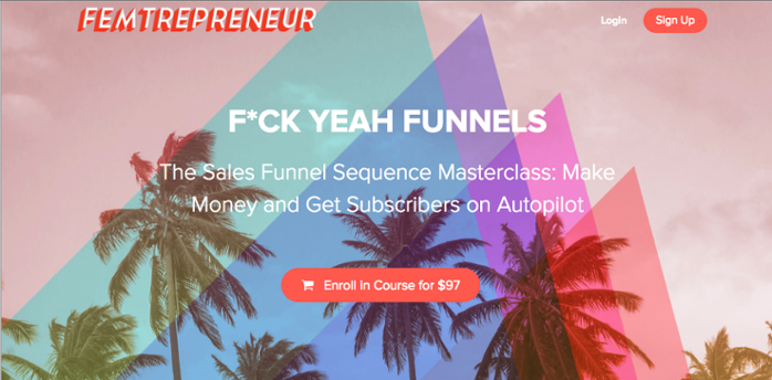 Mariah Coz Sales Funnel Masterclass sales page on Teachable