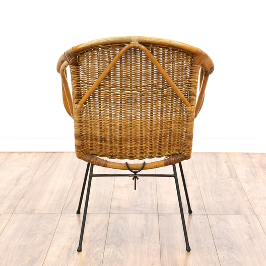 Woven wicker mid century modern basket chair loveseat for Mid century modern furniture san francisco