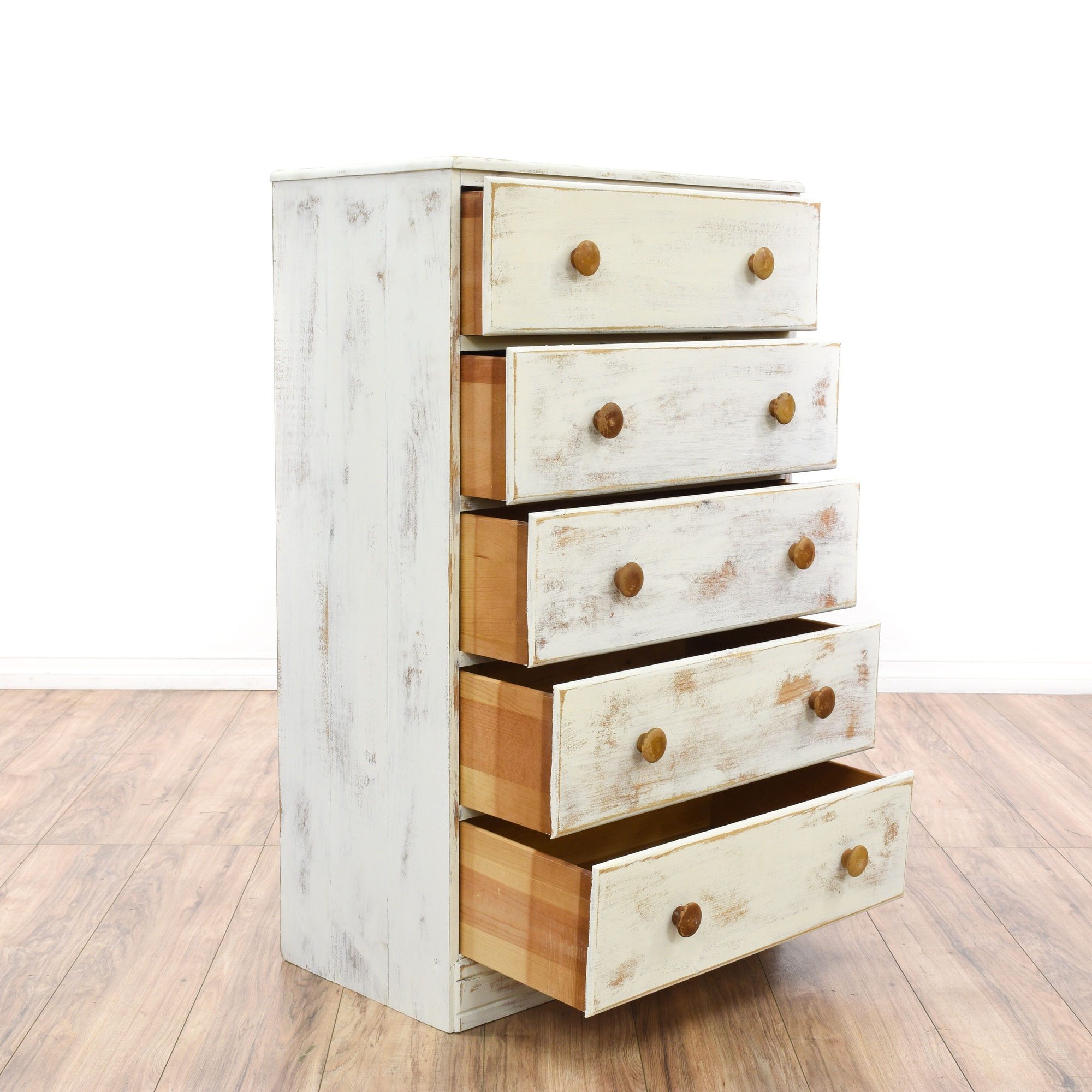 Shabby Distressed Tall 5 Drawer White Dresser Loveseat