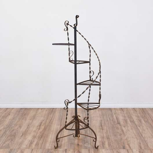 Shabby Chic Wrought Iron Scroll Plant Stand