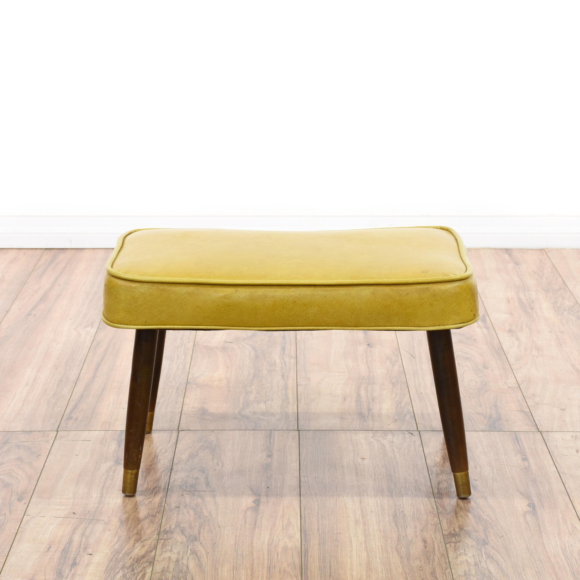 Mid century modern yellow vinyl ottoman loveseat vintage for Mid century modern la