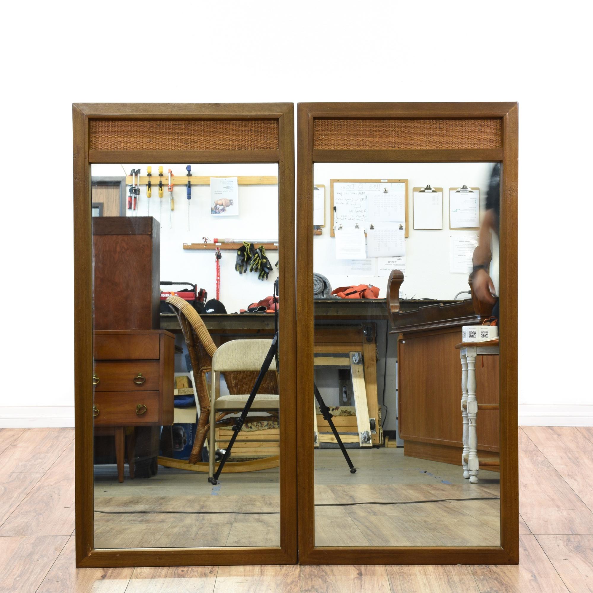 Pair Of Mid Century Modern Mirrors Loveseat Vintage