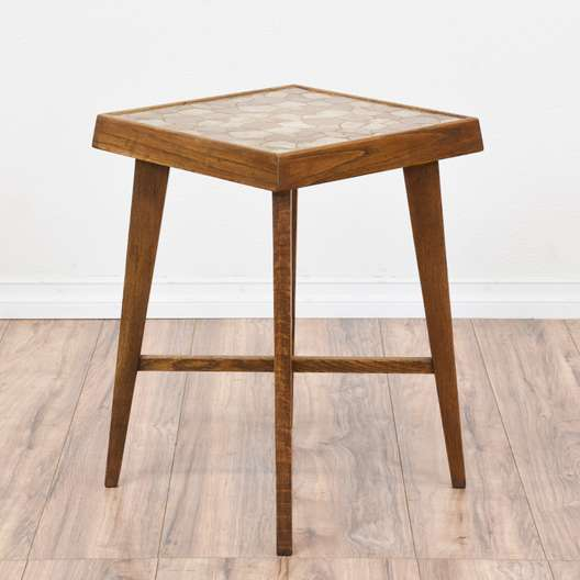 Mid Century Modern Stone Mosaic Top End Table