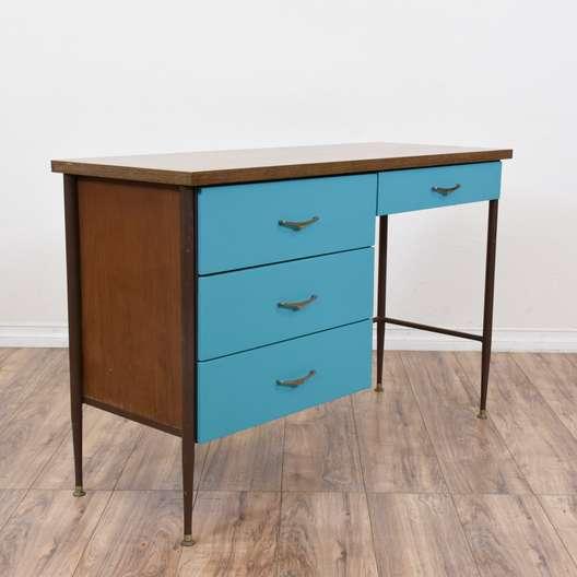 Mid Century Modern Vibrant Blue Desk