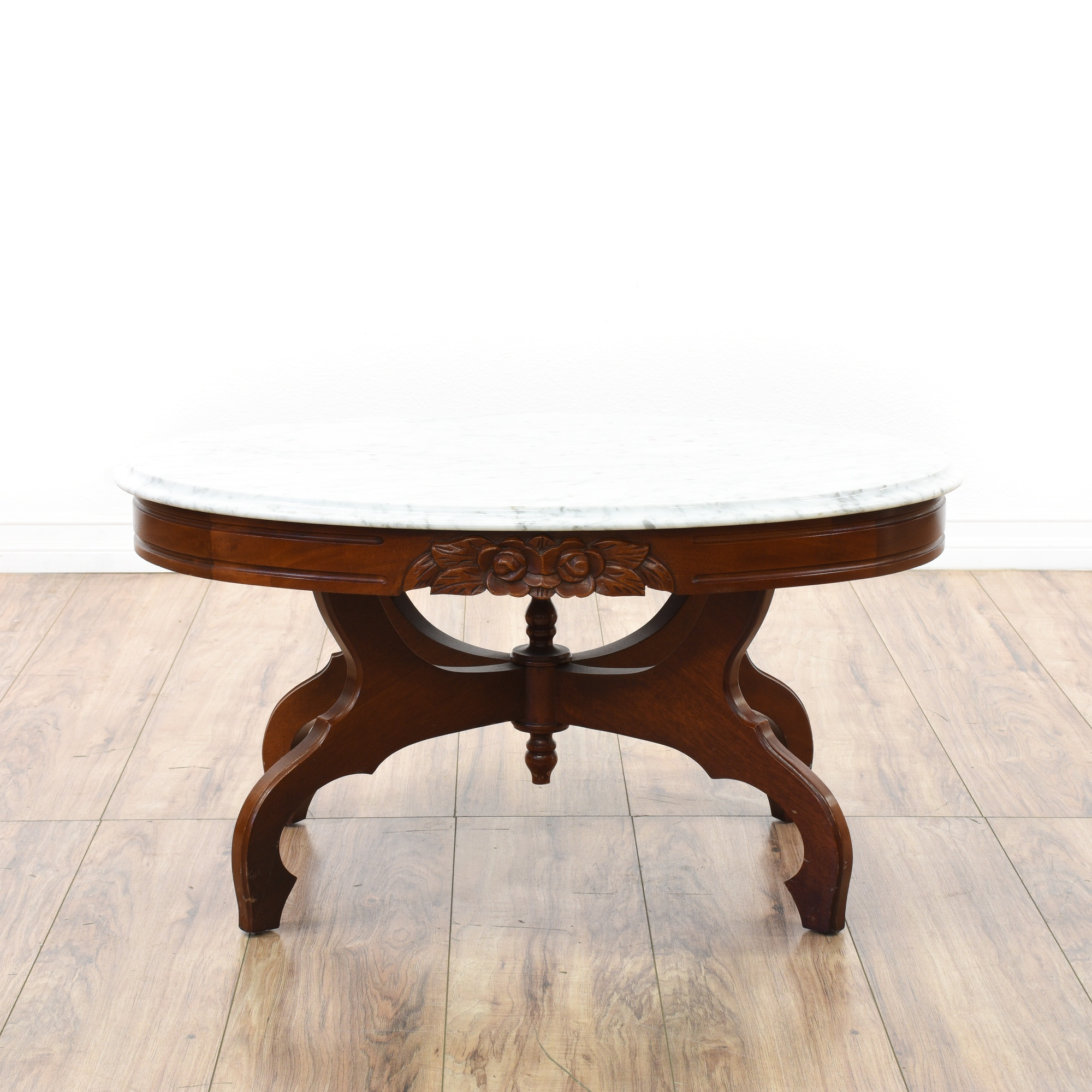Victorian Cherry Carved Marble Top Coffee Table