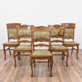 Set of 5 Antique Floral Art Nouveau Dining Chairs