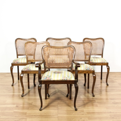 Dining Room Chairs San Diego: Set Of 6 Curved Cane Back Dining Chairs