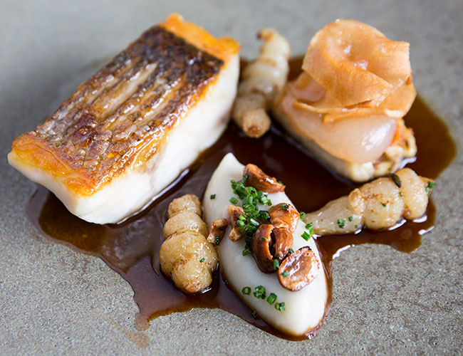 Sea bass, artichoke, chicken wing, hazelnut