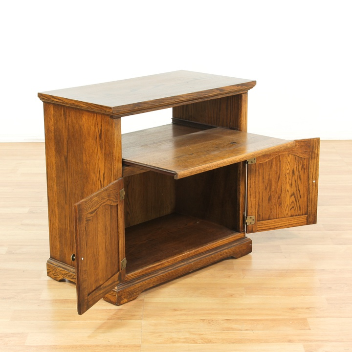 Oak Tv Stand W Pull Out Shelf Loveseat Vintage