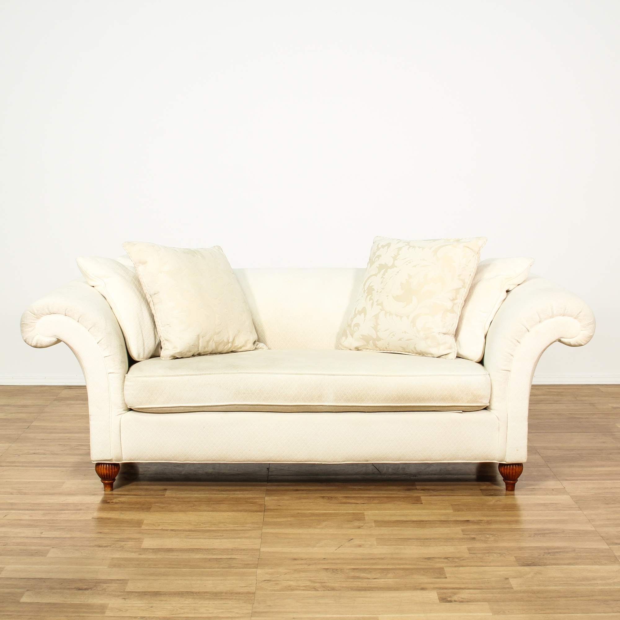 Contemporary Ivory Upholstered Loveseat Sofa Loveseat Vintage Furniture San Diego Los Angeles