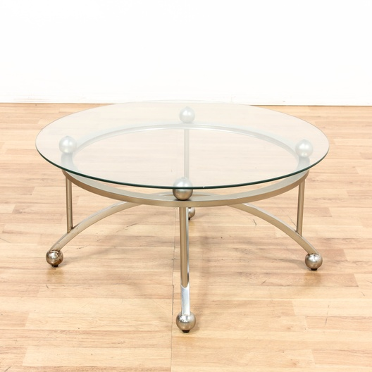 Round Glass Top Chrome Base Coffee Table