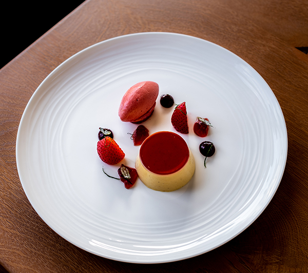 Strawberry tonka bean mousse, honeycomb, sable, strawberry sorbet