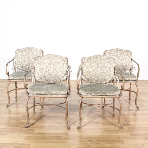 set of 4 metal chairs w cushions loveseat vintage