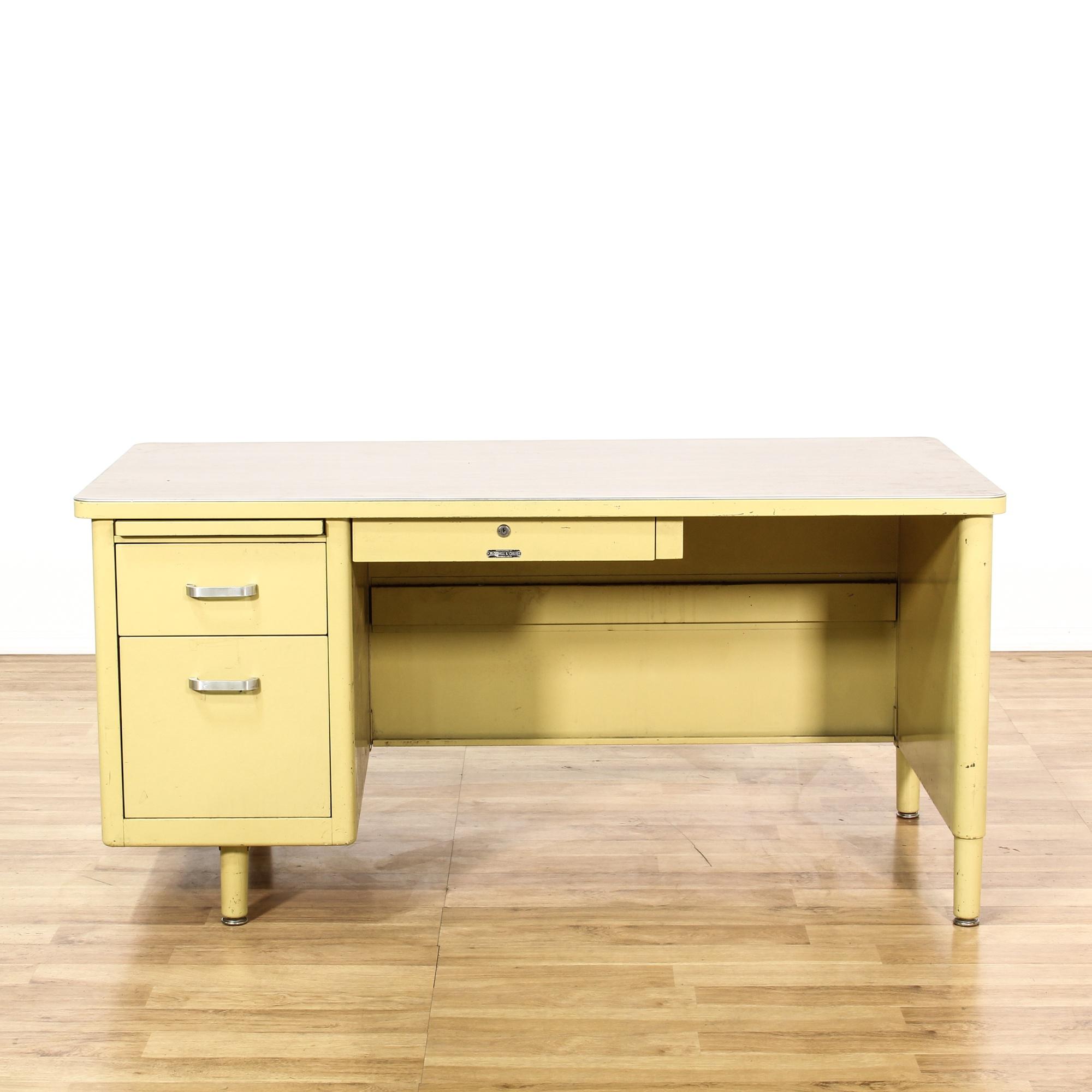 Retro Industrial Yellow Metal Tanker Desk Loveseat