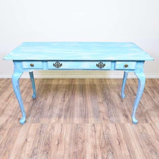 Light Blue Shabby Chic Console Table Desk