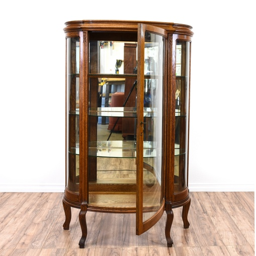 Victorian curved glass curio cabinet loveseat vintage for Victorian furniture los angeles