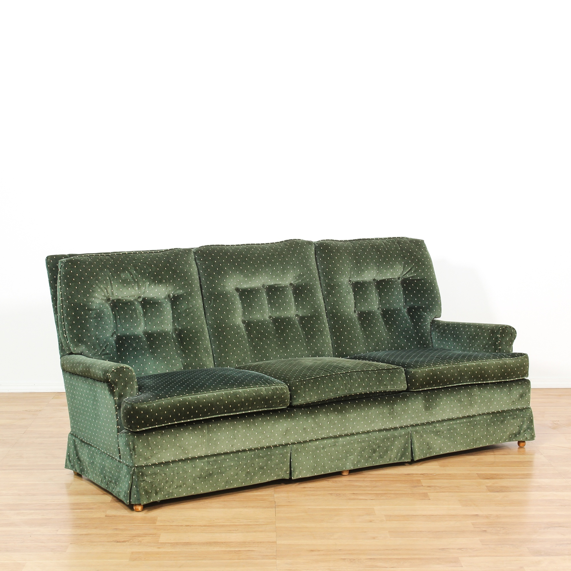 Picture of: Mid Century Green Velvet Tufted Sofa Loveseat Online Auctions Los Angeles