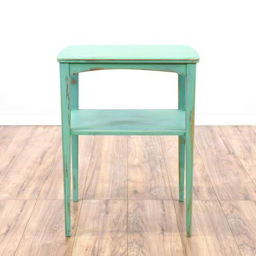 Shabby Chic Blue Tiered End Table