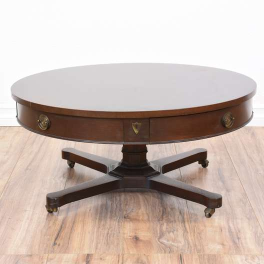 Round Light Wood Mid Century Modern Coffee Table Loveseat Vintage Furniture