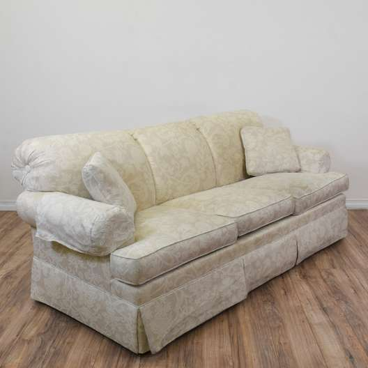 """Ethan Allen"" White Floral Sofa"