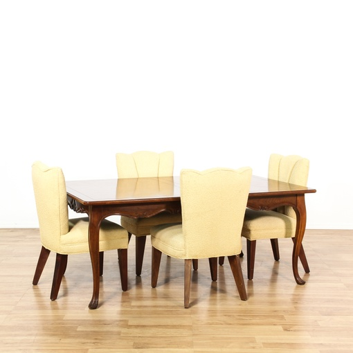 cherry dining set w 4 yellow dining chairs loveseat