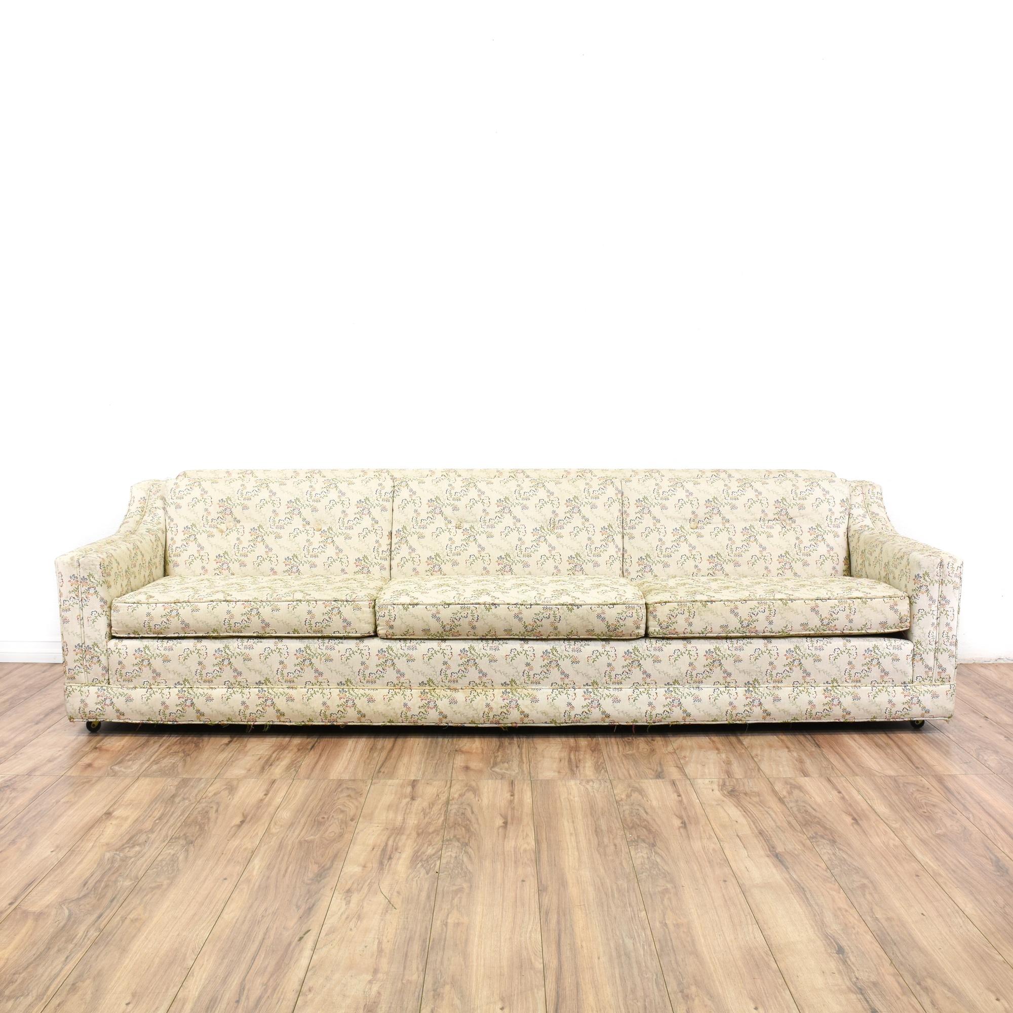 Mid Century Modern White Floral Sofa | Loveseat Vintage ...