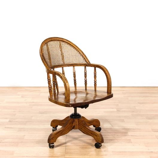 Oak Barrel Back Spindle Desk Chair On Casters Loveseat