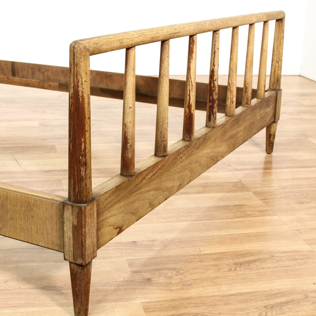 Mid Century Modern Rustic Wood Full Bed Frame Loveseat Vintage Furniture San Diego Los Angeles
