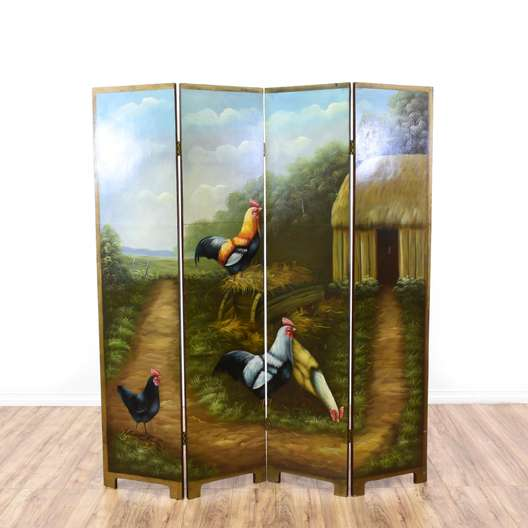 Hand Painted Farmhouse Chicken Room Divider Screen